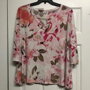Calvin Klein Pink and Green Floral Blouse